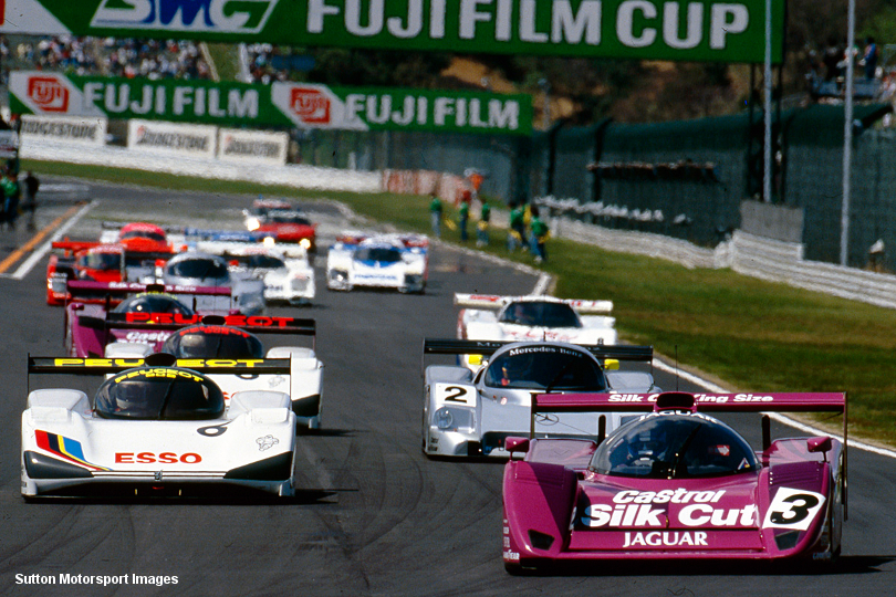 Jaguar XJR-14, chassis #591, leads the field at the 1991 season opener at Suzuka