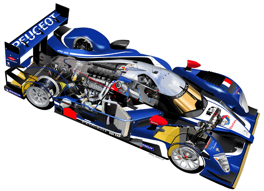Peugeot 908 cutaway by Antonio Pannullo